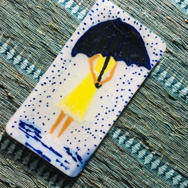 $25 girl in the rain tray 6x3 hand painted with liquid Glassline, fused with clear on top