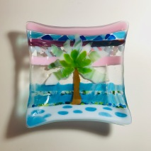 $30 tropical 7x7 square fused glass bowl w/tree