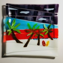 $40- 4 Palms & 2 surfboards platter 9 1/2 x 9 1/2 fused glass