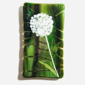 $20 - Dandelion fused glass trinket tray, spoon rest, or butter dish 6 x 3
