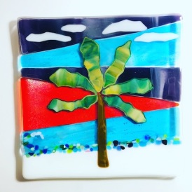 $30 1PalmTree - Tropical Sunset 8x8 Fused glass plate